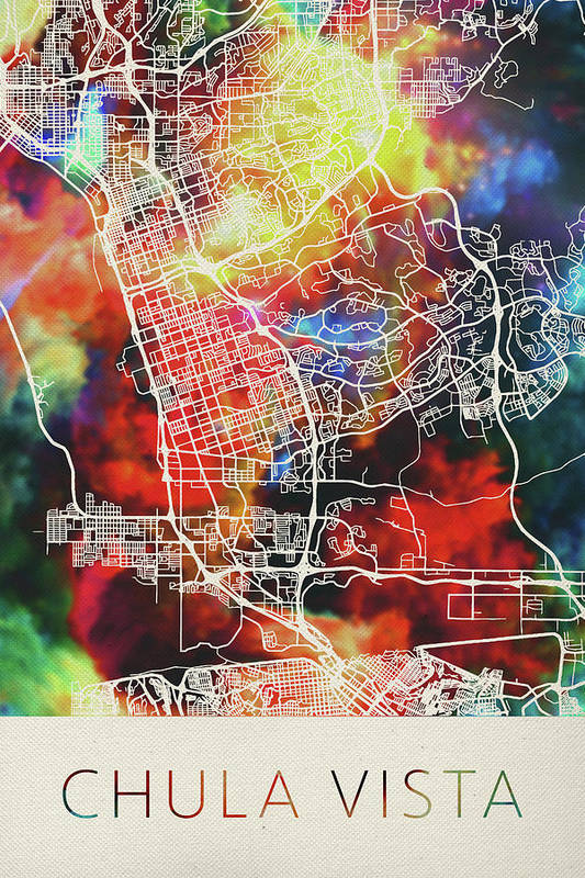 Chula Vista California Watercolor City Street Map by Design Turnpike
