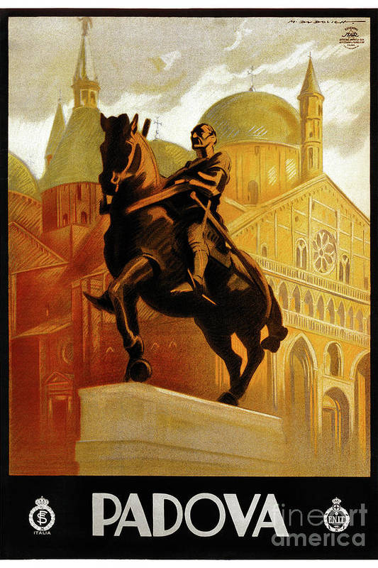 Padua Italy Vintage Travel Poster Restored by Vintage Treasure