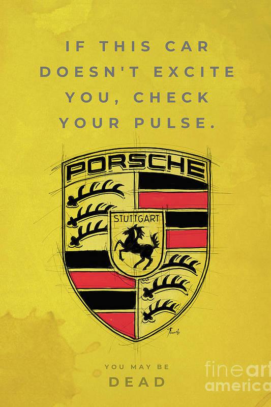Porsche logo. Original artwork. Porsche quote. by Drawspots Illustrations