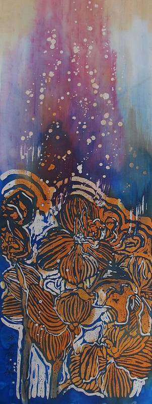 Orchids Poster featuring the painting Graceful Wild Orchids In Blue/orange by Beena Samuel