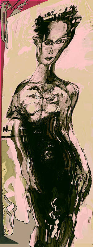 Fashon Poster featuring the painting Model IIi by Noredin Morgan