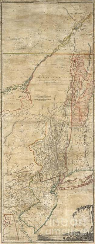 A First Issue First Edition Example Of A Seminal Map. This Is A Rare And Unusual Version Of The 1768 First Edition Of Holland And Jefferys Seminal Map Of New York And New Jersey. Depicts The Important Trade Corridor Between New York And Montreal Poster featuring the photograph 1768 Holland Jeffreys Map Of New York And New Jersey by Paul Fearn