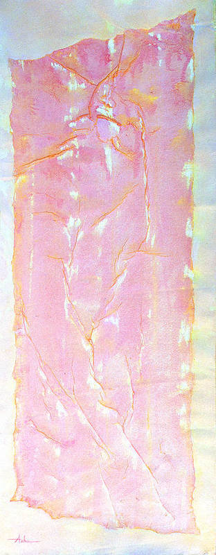 Abstract Painting Poster featuring the painting Pink Angel Softly Passing by Asha Carolyn Young