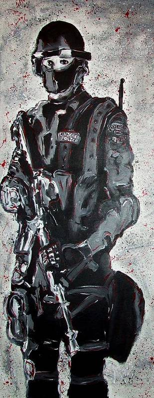 Red Poster featuring the painting Red Marble Full Length Figure Portrait Of Swat Team Leader Alpha Chicago Police Full Uniform War Gun by M Zimmerman MendyZ