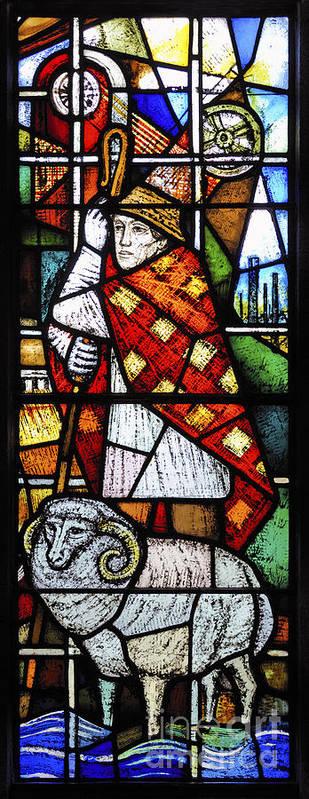 Saint Blaise Window Detail Church Saint Michael Poster featuring the photograph Saint Blaise. by Stan Pritchard