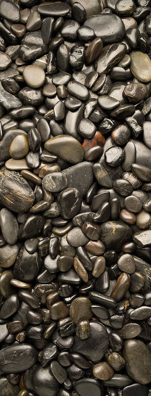 Pebble Poster featuring the photograph Black River Stones Portrait by Steve Gadomski