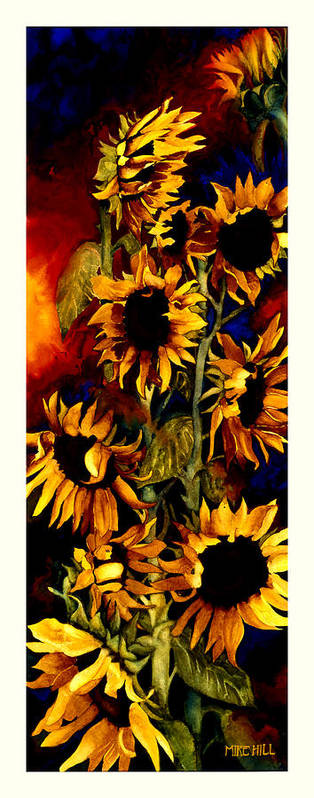 Sunflower Sun Flower Yellow Warm Cool Tall Narrow Colors Poster featuring the painting I'll Follow The Sun by Mike Hill