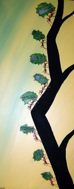 Ant Poster featuring the mixed media Rainforest Information Superhighway by Sharon Supplee