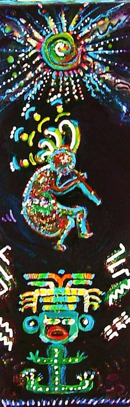Acrylic Poster featuring the painting Kokopelli Magic I by Anne-Elizabeth Whiteway