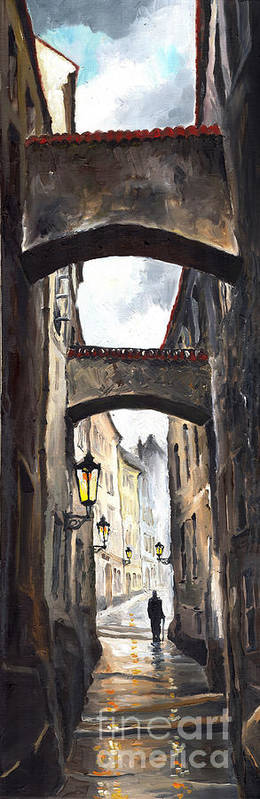 Oil On Canvas Paintings Poster featuring the painting Prague Old Street 02 by Yuriy Shevchuk