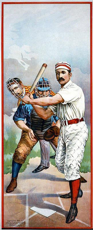 Baseball Player At Bat Poster featuring the digital art Baseball Player At Bat by Unknown