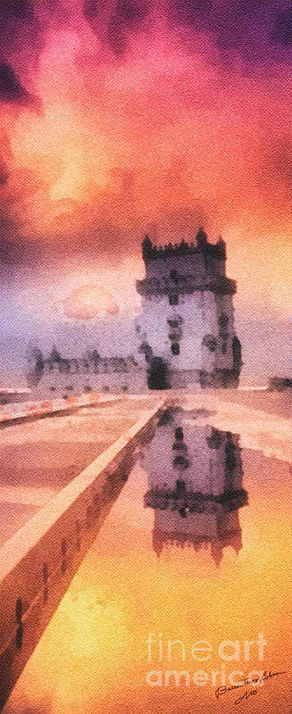 Belem Tower Poster featuring the painting Belem Tower by Mo T