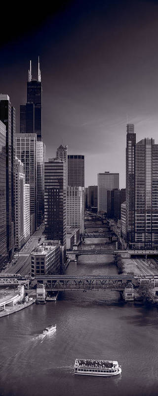 Willis Poster featuring the photograph Chicago River Bridges South Bw by Steve Gadomski