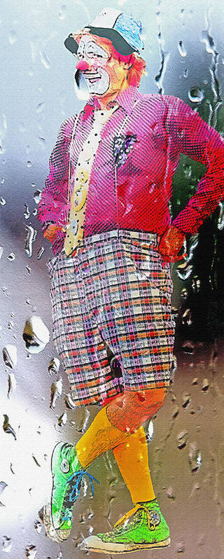 Abstract Poster featuring the photograph Rainy Day Clown 2 by Steve Ohlsen