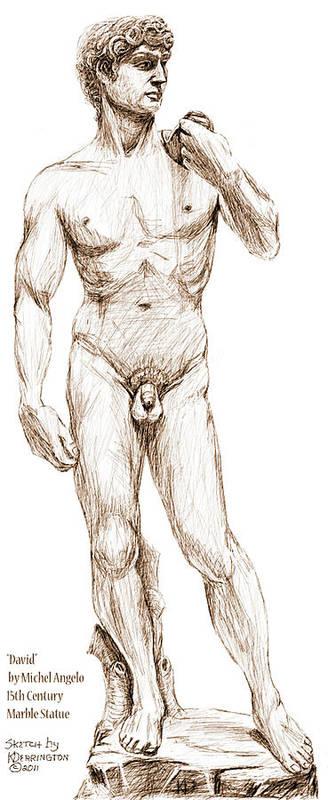 David Poster featuring the drawing David Sketch by Khaila Derrington