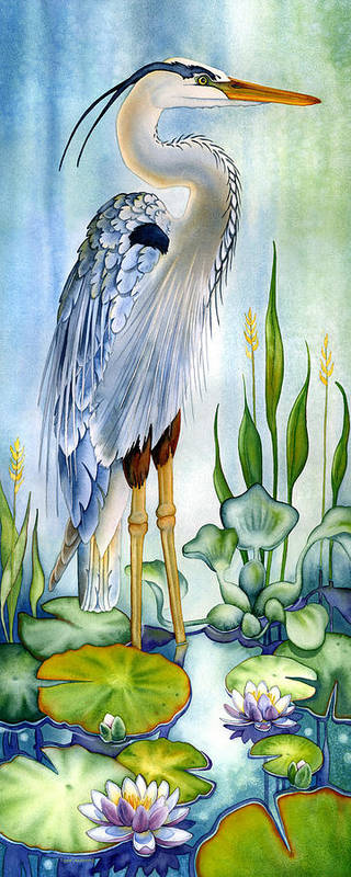 Poster featuring the painting Majestic Blue Heron by Lyse Anthony