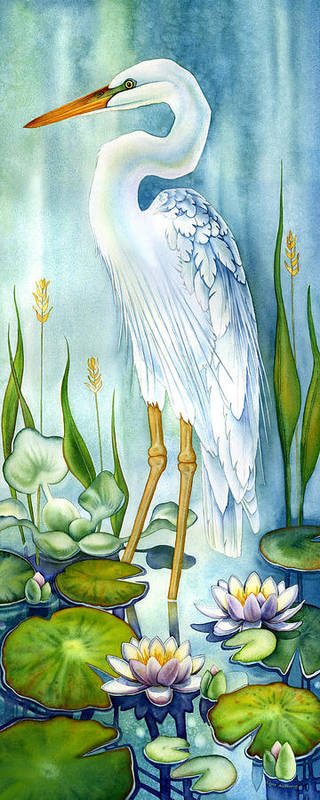 Poster featuring the painting Majestic White Heron by Lyse Anthony