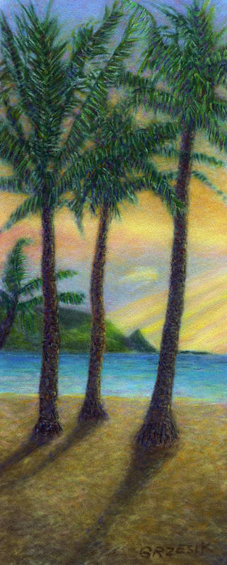 Rainbow Colors Pastel Poster featuring the painting Sunset Palms by Kenneth Grzesik