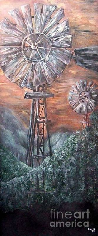 Windmill Poster featuring the painting Antique Windmills At Dusk by Eloise Schneider
