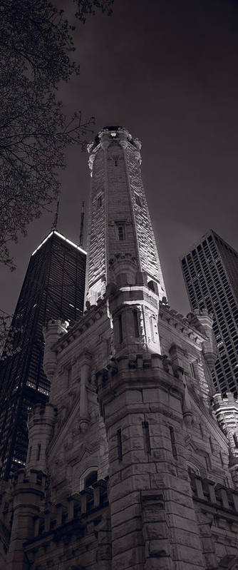 Chicago Poster featuring the photograph Chicago Water Tower Panorama B W by Steve Gadomski