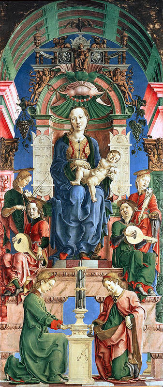 Madonna With The Child Enthroned Poster featuring the digital art Madonna With The Child Enthroned by Cosme Tura