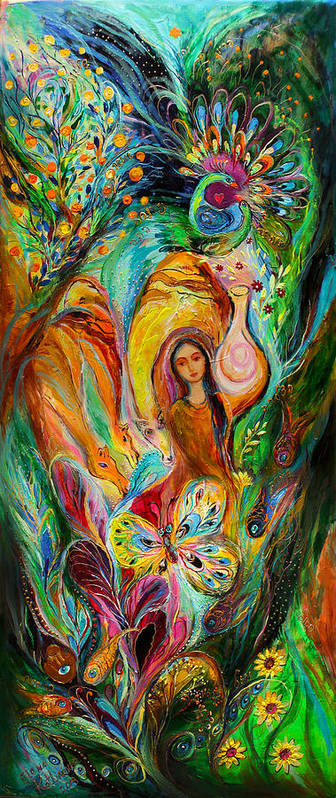 Jewish Art Prints Poster featuring the painting Rebecca Watered The Camels by Elena Kotliarker