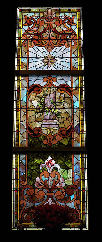Composite Poster featuring the photograph Stained Glass 3 Panel Vertical Composite 06 by Thomas Woolworth