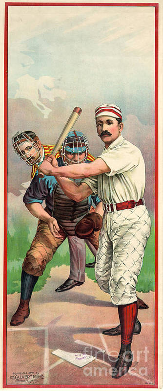 1895 Poster featuring the photograph Baseball Player, C1895 by Granger