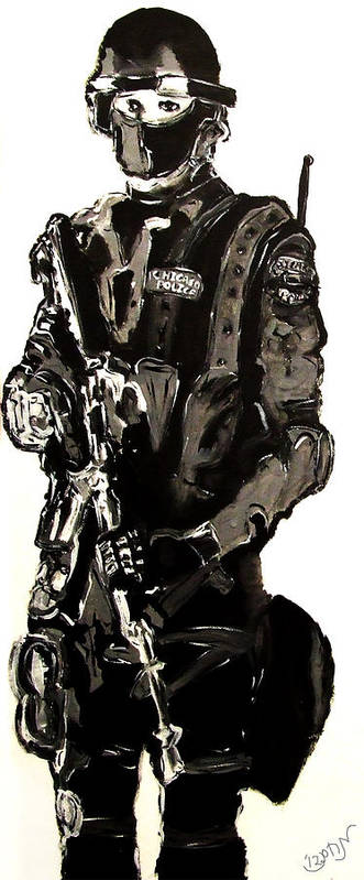 Mendyz Poster featuring the painting Full Length Figure Portrait Of Swat Team Leader Alpha Chicago Police In Full Uniform With War Gun by M Zimmerman MendyZ