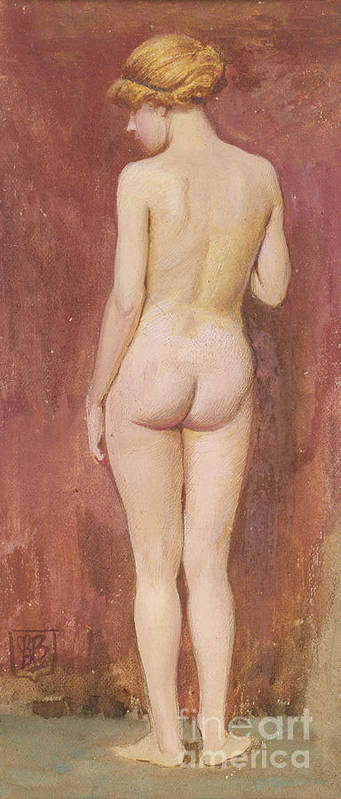 Study; Nude; Female; Standing; Back; Young; Full Length; Sketch; Posterior; Rear View; Study; Nude; Female; Standing; Back; Young; Full Length; Sketch; Posterior; Rear View; Nude Poster featuring the painting Study Of A Nude by Murray Bladon