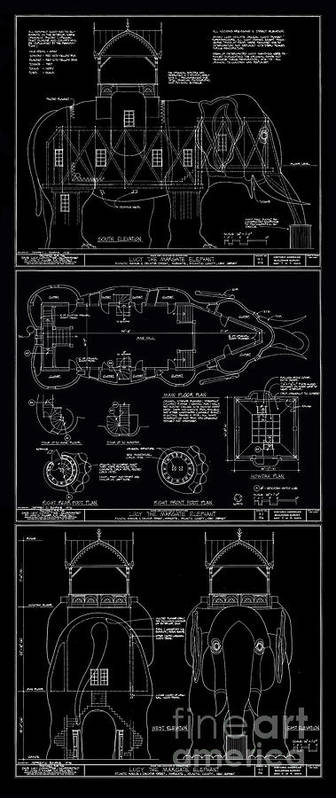 Lucy the elephant building patent blueprint 3 poster by edward fielding lucy poster featuring the digital art lucy the elephant building patent blueprint 3 by edward fielding malvernweather Image collections