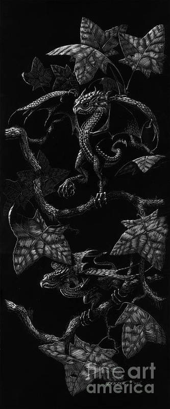 Dragon Poster featuring the drawing Snap Dragons by Stanley Morrison