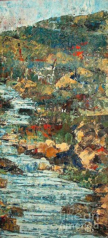 Landscape Poster featuring the painting Hilly Stream - SOLD by Judith Espinoza