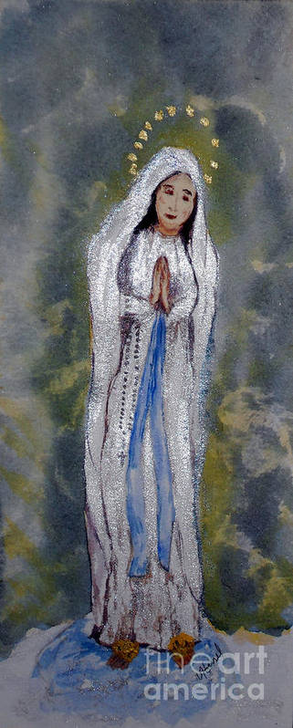 Our Lady Of Lourdes Poster featuring the painting Our Lady Of Lourdes 2 by Vicki Housel
