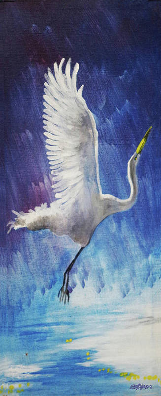 Egret Poster featuring the painting The Egret by Seth Weaver