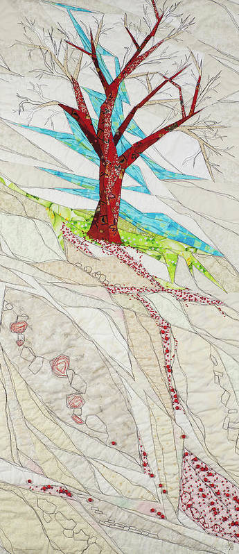 Tree Poster featuring the tapestry - textile Windfall by Linda Beach