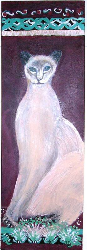 Animal Cat Siamese Tall Statuesque Sophisticated Beige Burgandy Aqua Felinelue Eyes Feline Topcat Poster featuring the mixed media Siamese If You Please Revisited by Anne-Elizabeth Whiteway