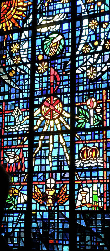 Glass Art Poster featuring the photograph Orange Blue Stained Glass Window by Thomas Woolworth