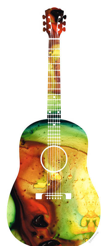 Guitar Poster featuring the painting Acoustic Guitar - Colorful Abstract Musical Instrument by Sharon Cummings