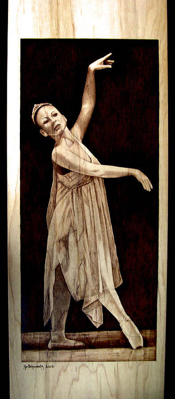 Pyrography; Woodburning; Ballerina; Light; Portrait; Shoe; Stage; Dress; Crown; Tiara; Dance; Poster featuring the pyrography Grace Touching Light by Jo Schwartz