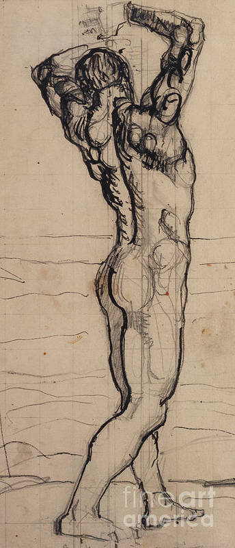 Drawing; Nude; Back View; Stretching; Standing; Full Length; Symbolist; Pen Poster featuring the drawing Male Act  Study For The Truth by Ferdninand Hodler