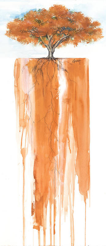 African American Artist Poster featuring the mixed media Poinciana Tree Orange by Anthony Burks Sr