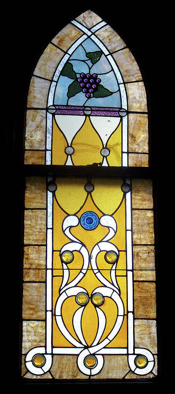 Glass Art Poster featuring the photograph Brown Stained Glass Window by Thomas Woolworth