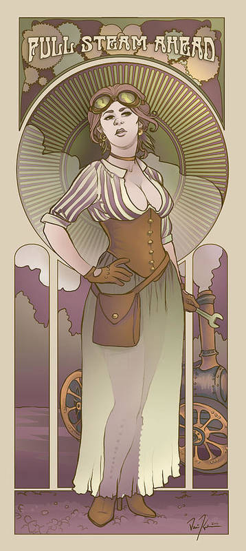 Art Nouveau Poster featuring the digital art Mucha Inspired Steam Maiden Print by Dani Kaulakis