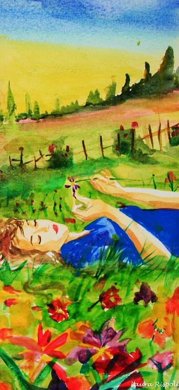 Landscape Poster featuring the painting Dreaming by Laura Rispoli