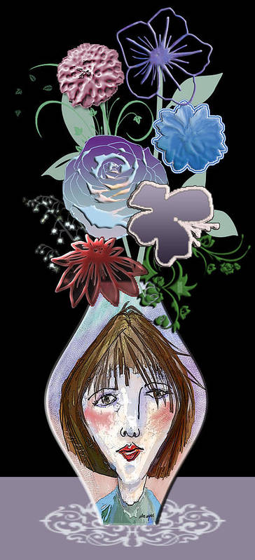 Flowers Poster featuring the digital art Face Vase by Arline Wagner