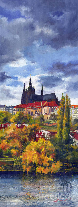Prague Poster featuring the painting Prague Castle With The Vltava River by Yuriy Shevchuk