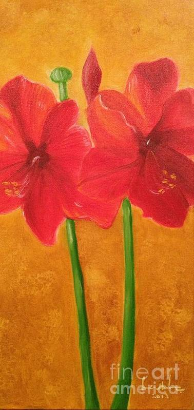 Flowers Poster featuring the painting Flowers by Brindha Naveen
