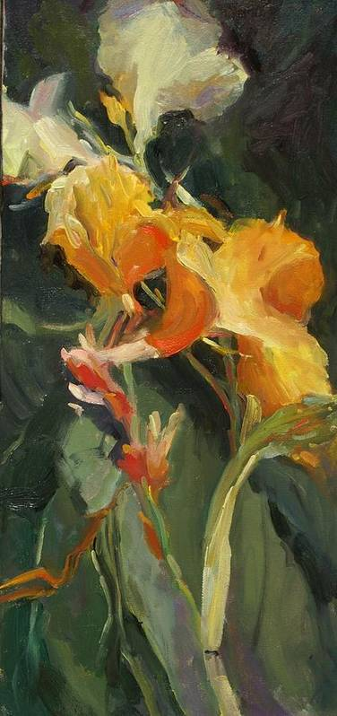 Yellow Canna Floral Garden Impressionistic Florals Poster featuring the painting Canna by Elizabeth Taft