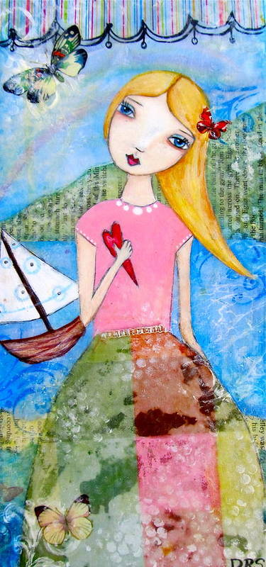 Girl Poster featuring the painting Girl With The White Boat by Denise Rivkin
